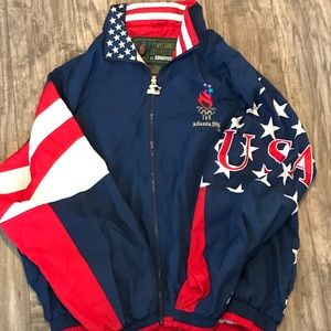1996 ATL Olympic Games STARTER USA Flag Jacket XL